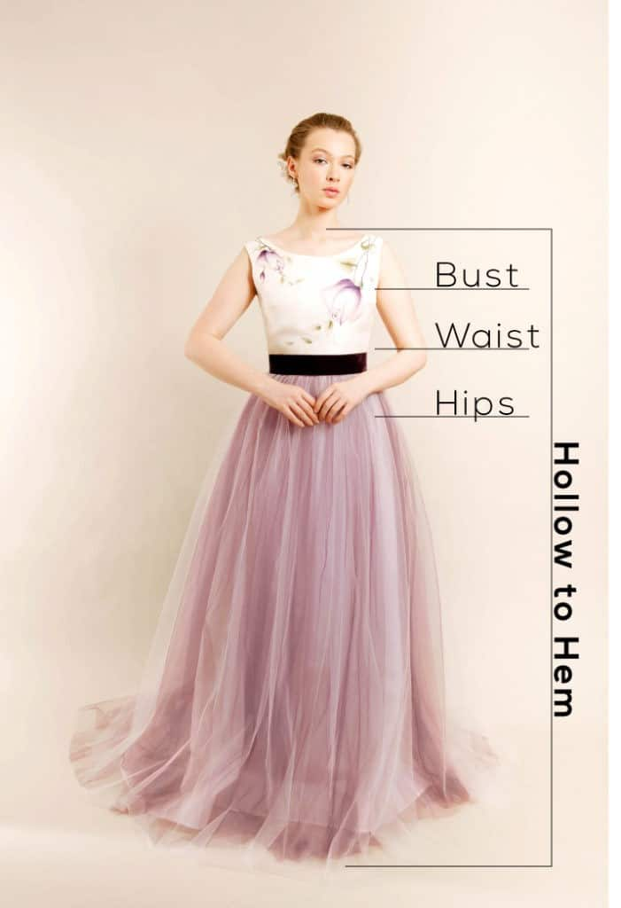 Size chart guideline for bridal dresses