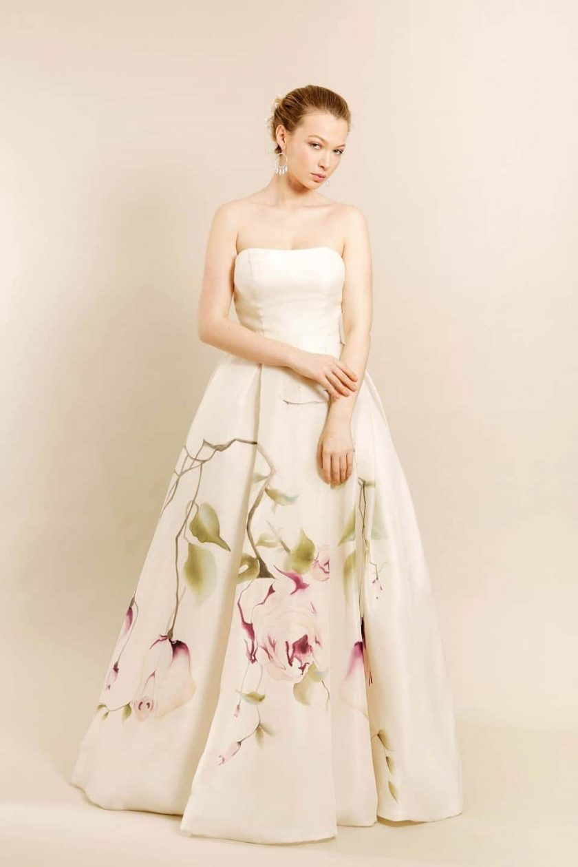 Kissing rose hand painted bridal gown front view