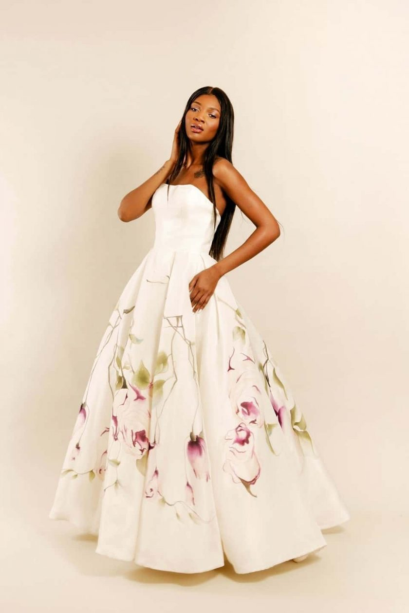 Kissing rose hand painted bridal gown front three-quarter view