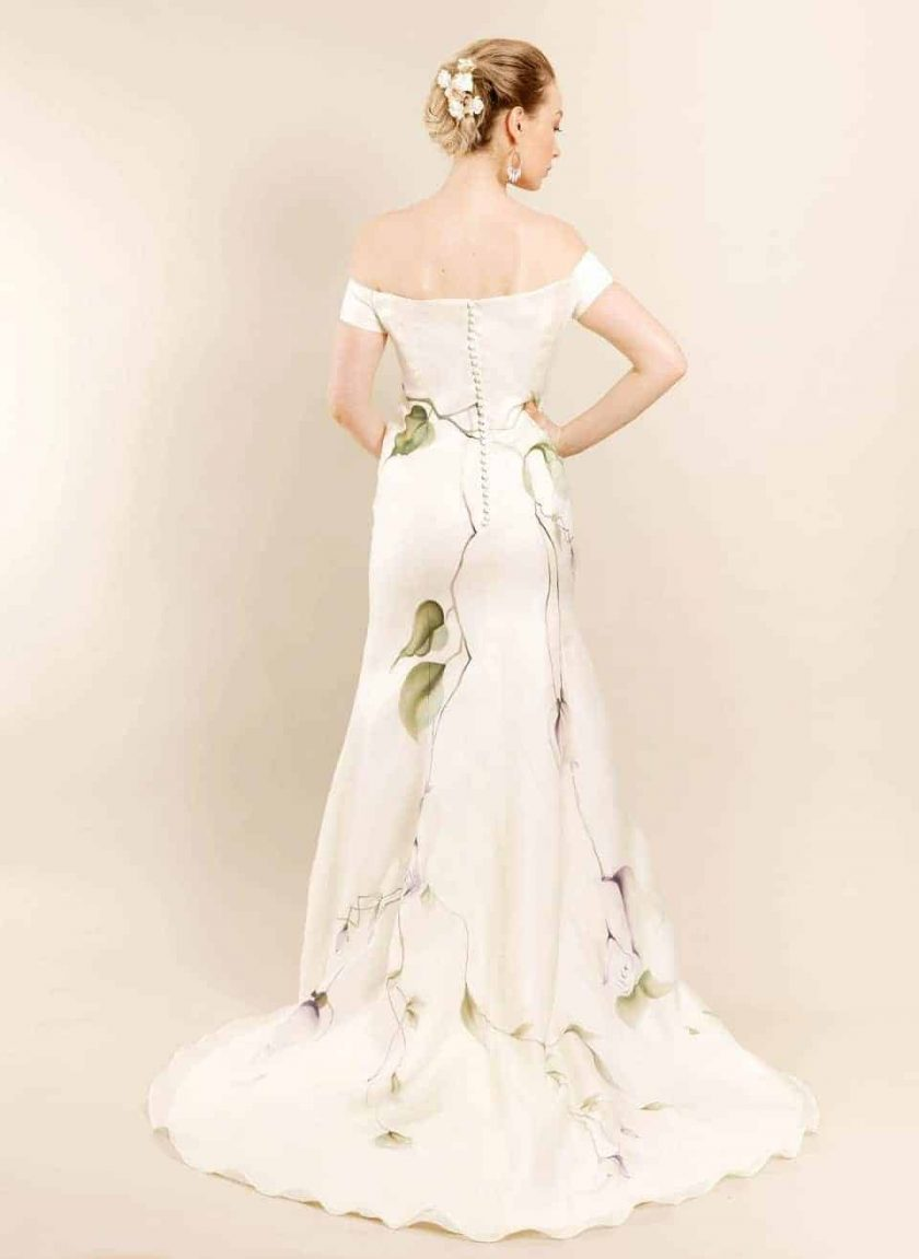 Lavender love hand painted bridal gown rear view on model