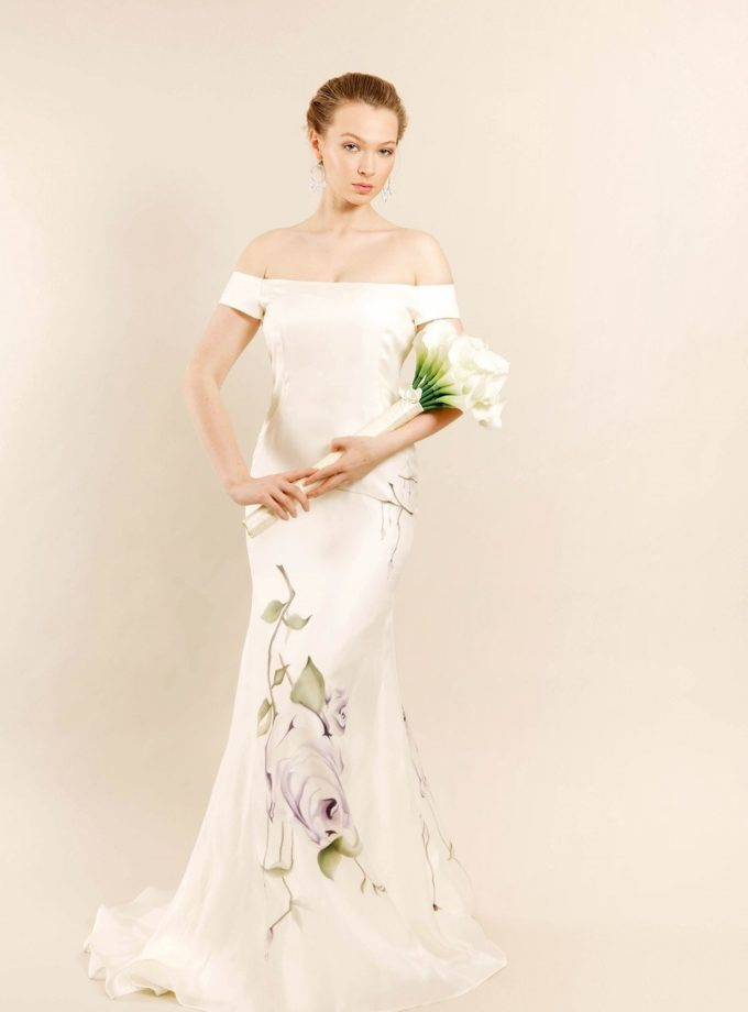 Lavender love hand painted bridal gown front view with model and white cala lilly bouquet
