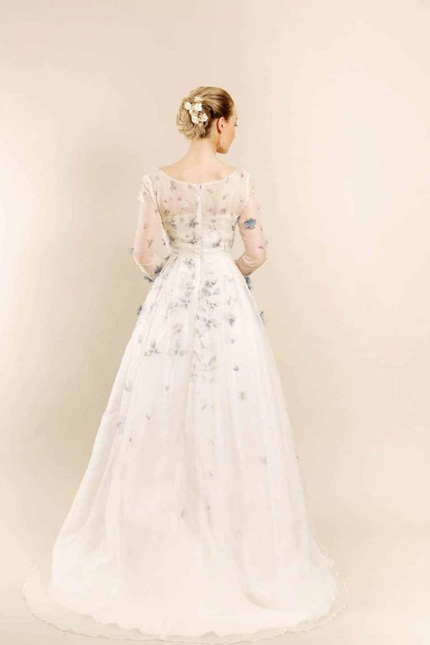 Romancing petal hand painted bridal gown rear view