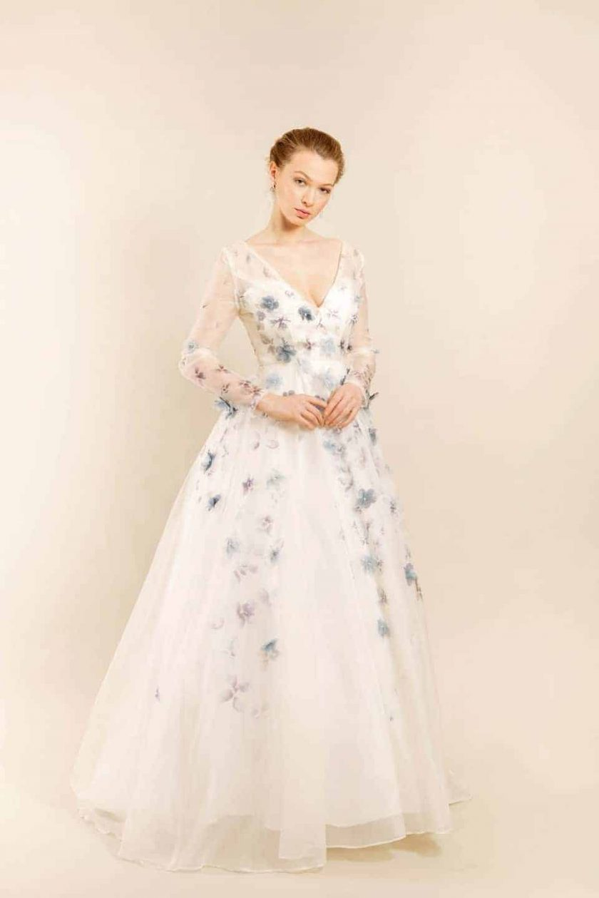 Romancing petal hand painted bridal gown front view on model