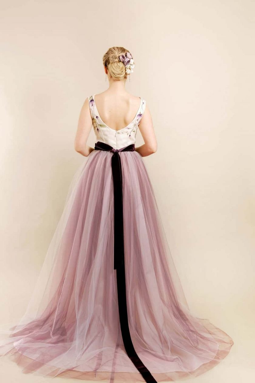 Vintage plum hand painted bridal gown rear view of model