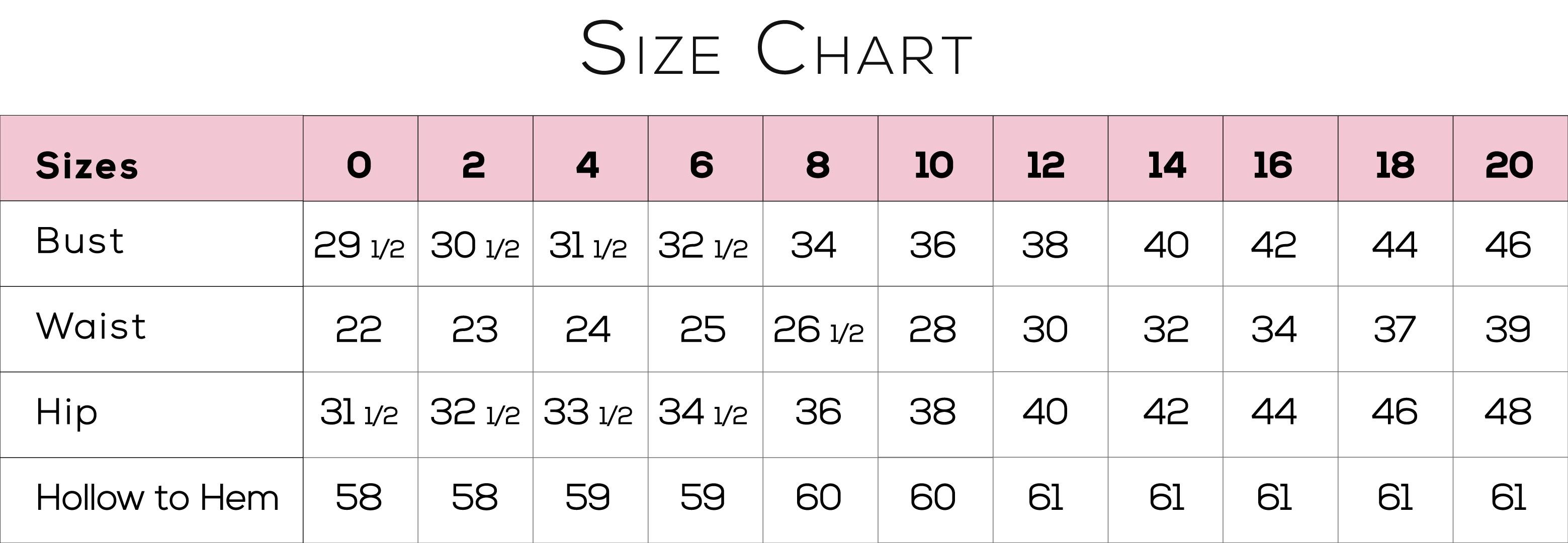 Size chart sheet