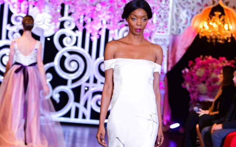 Lavender Love Hand painted gown fashion show worn by model on the runway